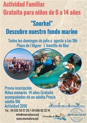 """Activitat familiar: """"Snorkel"""" Descobreix el nostre fons marí"""